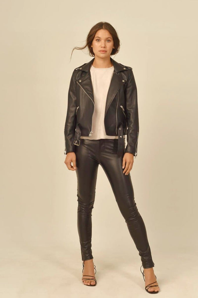 Paige Vegan Faux Leather Biker Jacket in Black