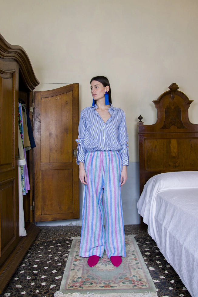 Lisette Deadstock Cotton Trousers in Pink & Blue Stripes