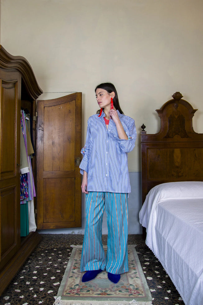 Marguerite Handmade Cotton Shirt in Blue