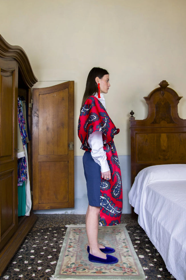 Diaghilev Deadstock Silk Stole in Red