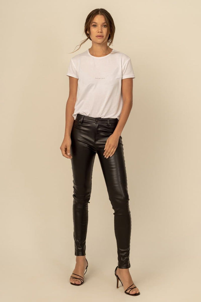 Milly Vegan Faux Leather Skinny Pants in Black