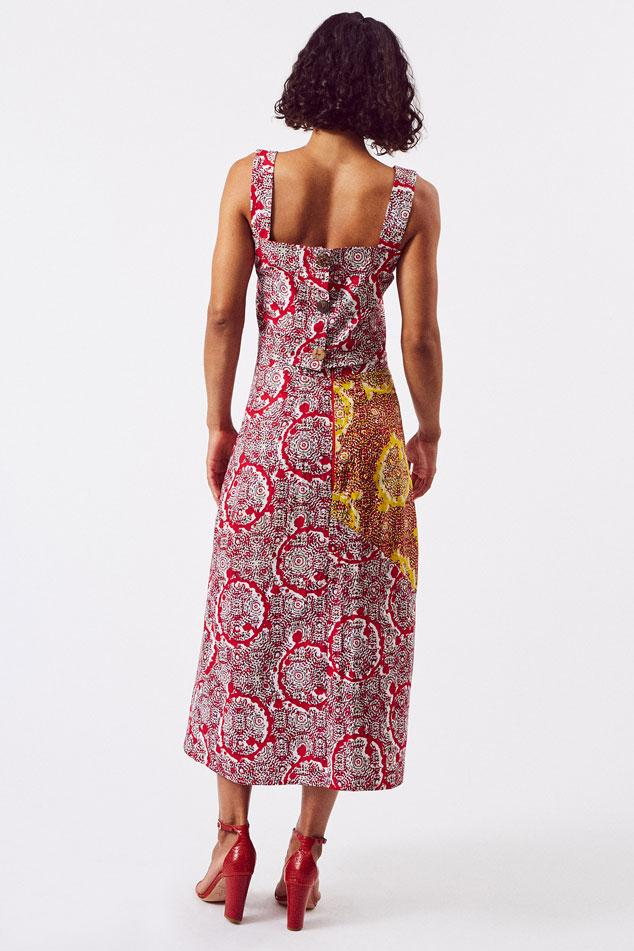 Sustainable Cotton Split Skirt in Red & Pink & Yellow Print