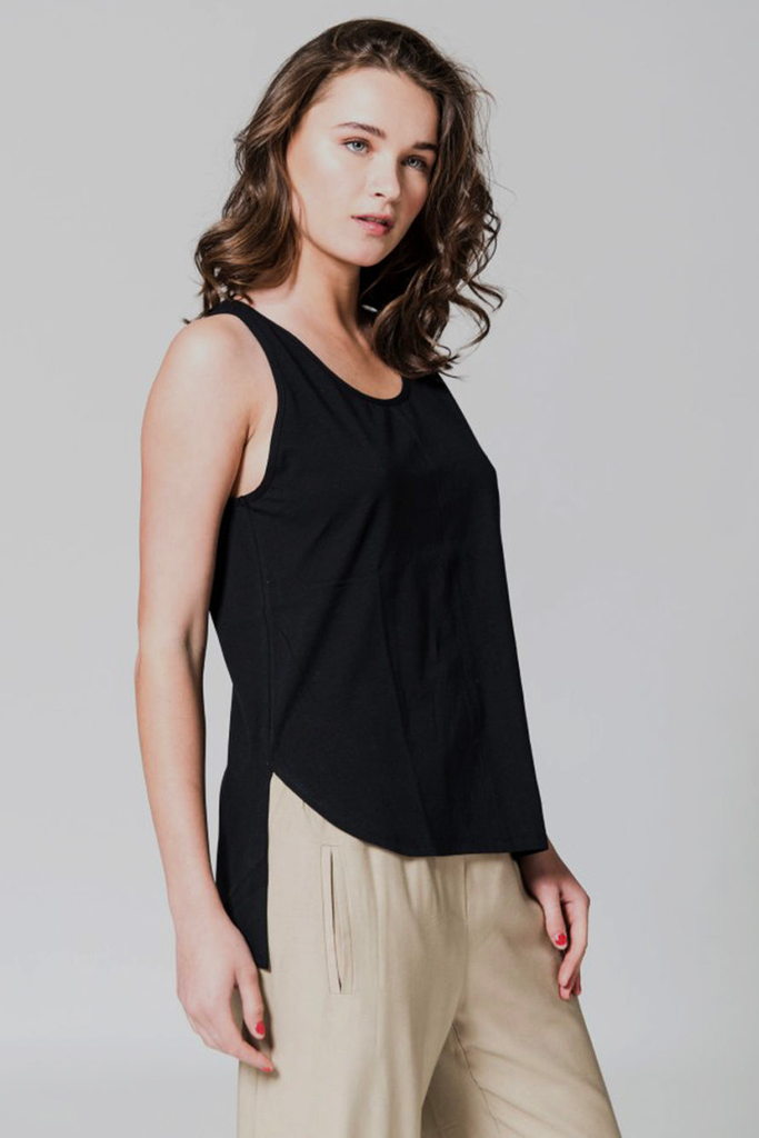 Pisa Organic Cotton Top in Black