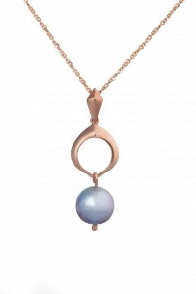 Cocochnik Recycled Rose Gold Plated Silver Pendant - Grey Akoya Sea Pearl