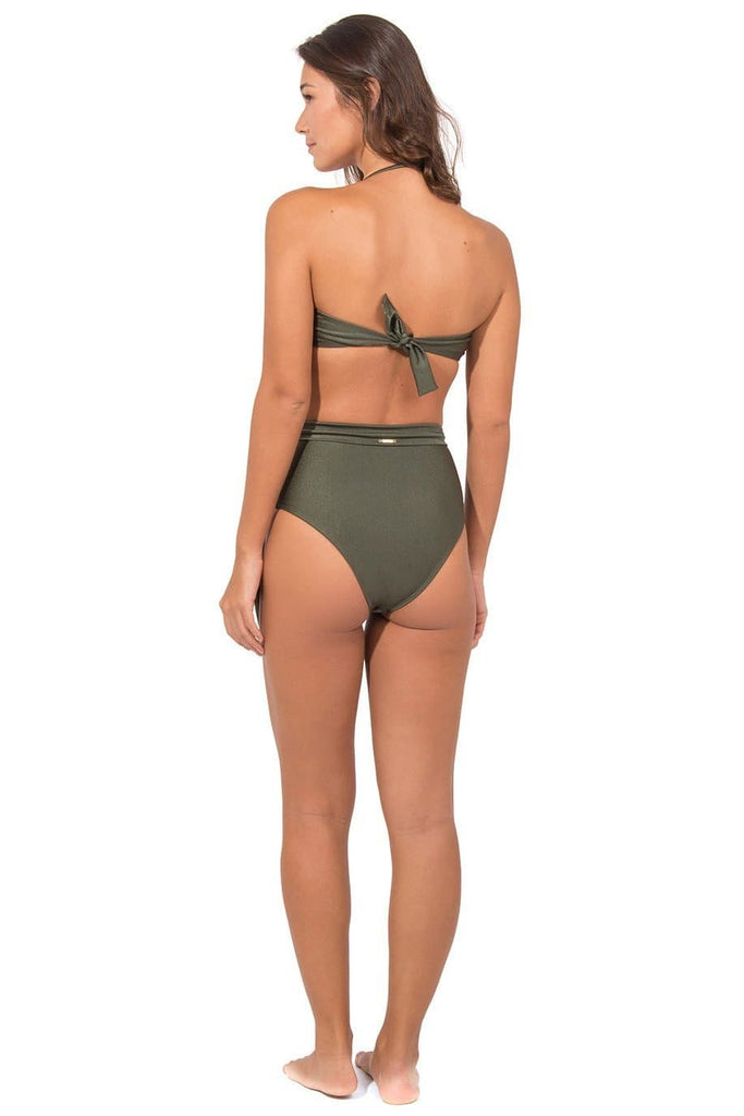 Taioba Vegan Nylon&Lycra High Waist Bikini Bottom in Olive Metallic