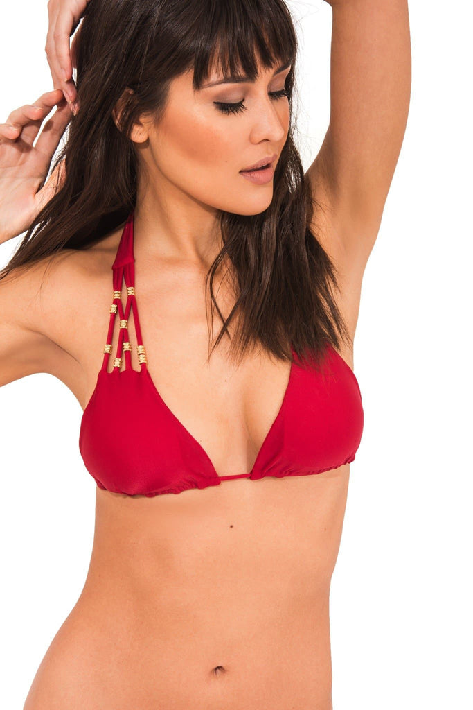 Maracuja Vegan Nylon&Lycra Hand Knotted Halter Top in Red