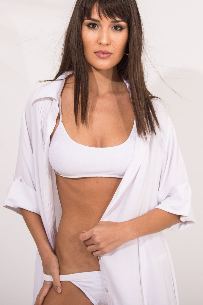 Pitaia Vegan Nylon&Lycra Scoop Front Top in White