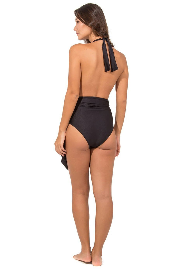 Begonia Vegan Nylon&Lycra Halterneck One Piece Swimsuit in Black Metallic