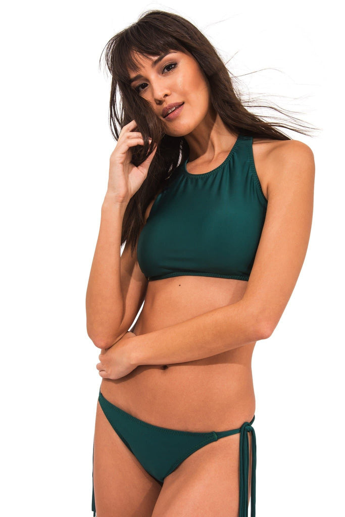 Lichia Vegan Nylon&Lycra High Neck Top in Green