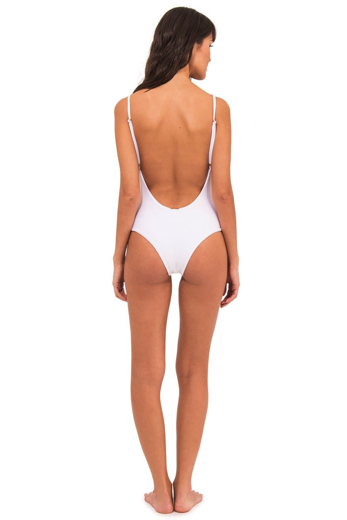 Uva Fiji Vegan Nylon&Lycra Low Cut Back One Piece Swimsuit in White
