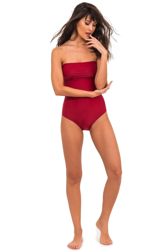 Ameixa Vegan Nylon&Lycra Bandeau One Piece Swimsuit in Red