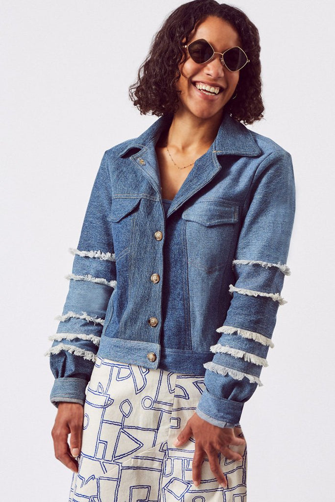 Upcycled Cotton Denim Jacket in Blue