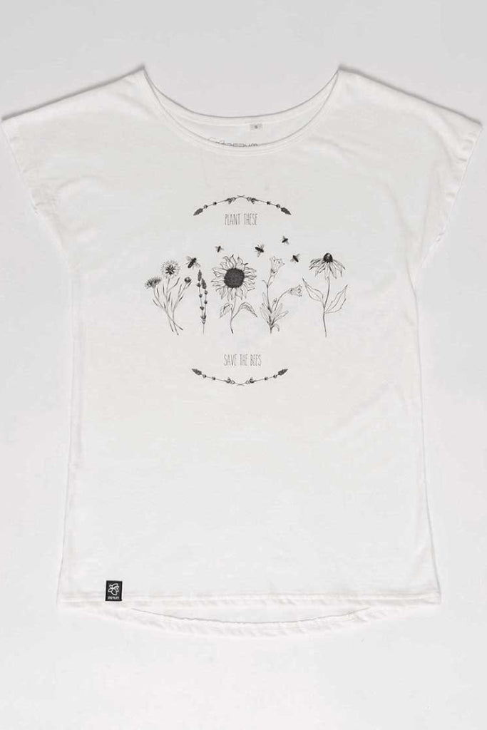 Lea - Save The Bees by Zerum Organic Cotton T-shirt in White