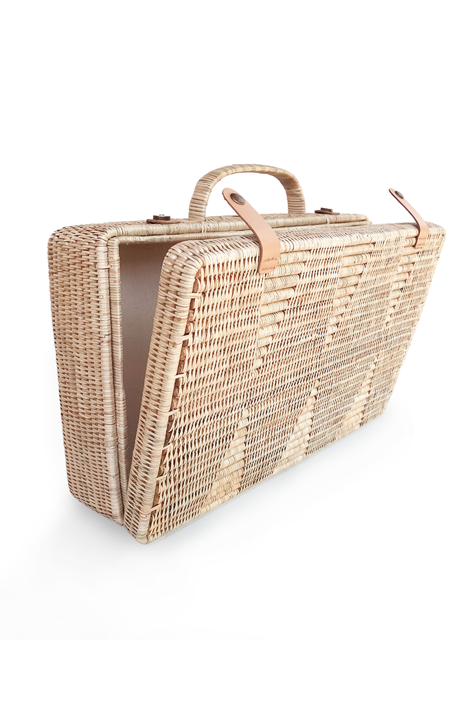 Vihara Artisan Rattan Suitcase in Natural with Nude Handle