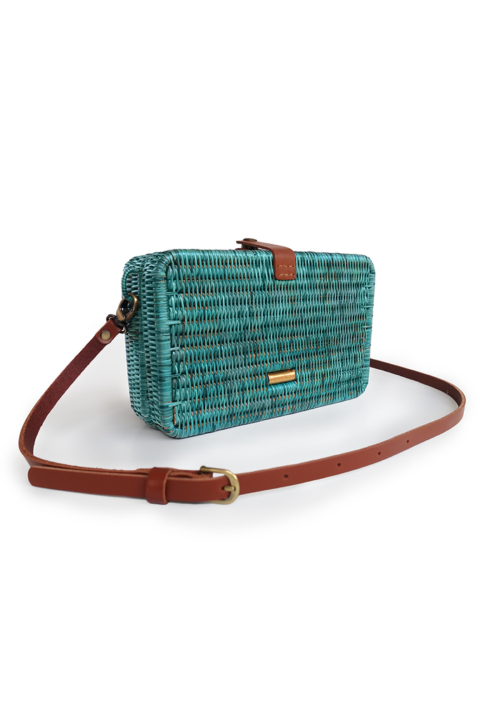 Syuti One Artisan Rattan Bag in Pastel Dark Green with Brown Handle