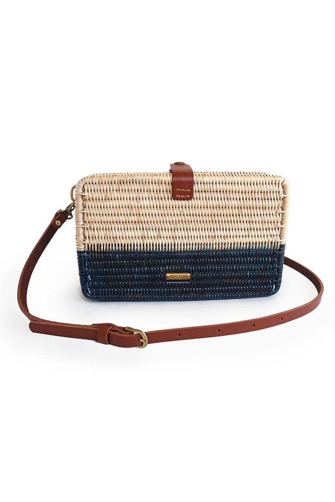 Syuti Ray Artisan Rattan Bag in Natural with Navy Blue, Brown Handle