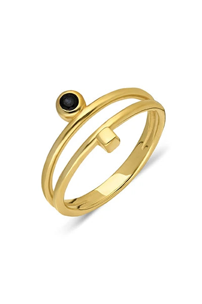 Toni Handmade Gold-Plated Silver Onyx Ring
