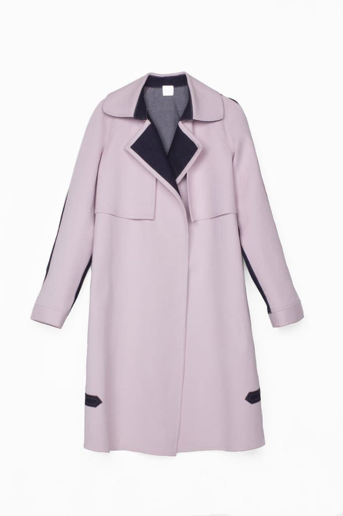 Heze Organic Cotton Trench in Light Pink and Black Back