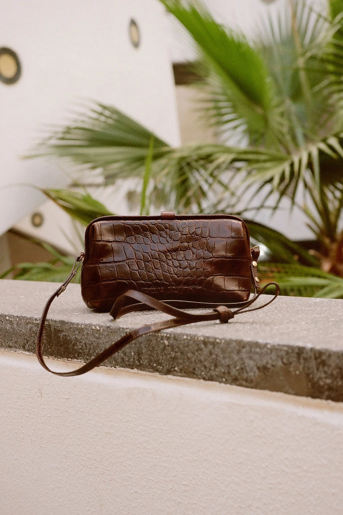 Rofe M Natural Cow Leather Clutch Bag in Brown Crocodile Pattern