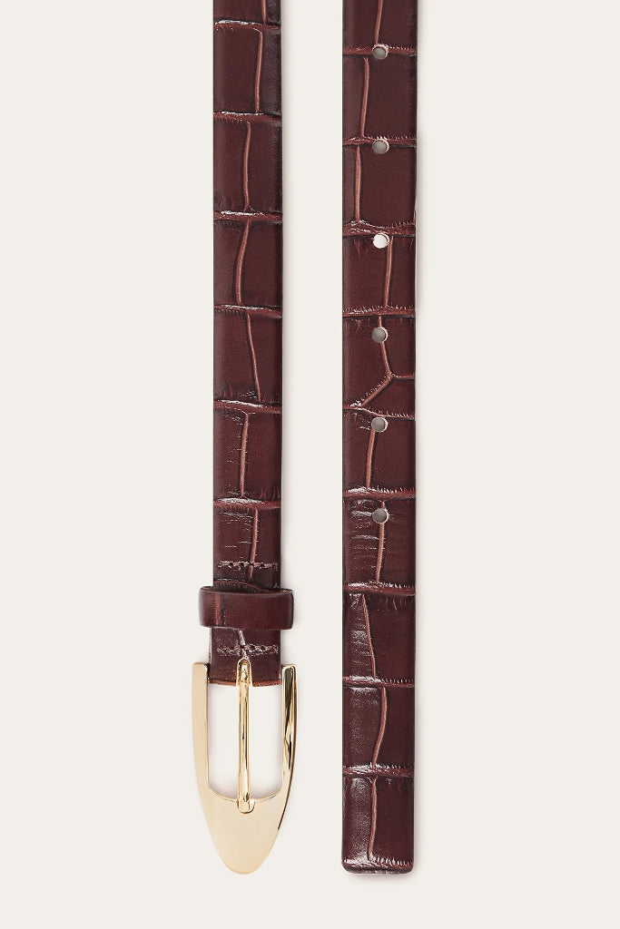 Mat-Gold Buckle Natural Cow Leather Thin Belt in Brown