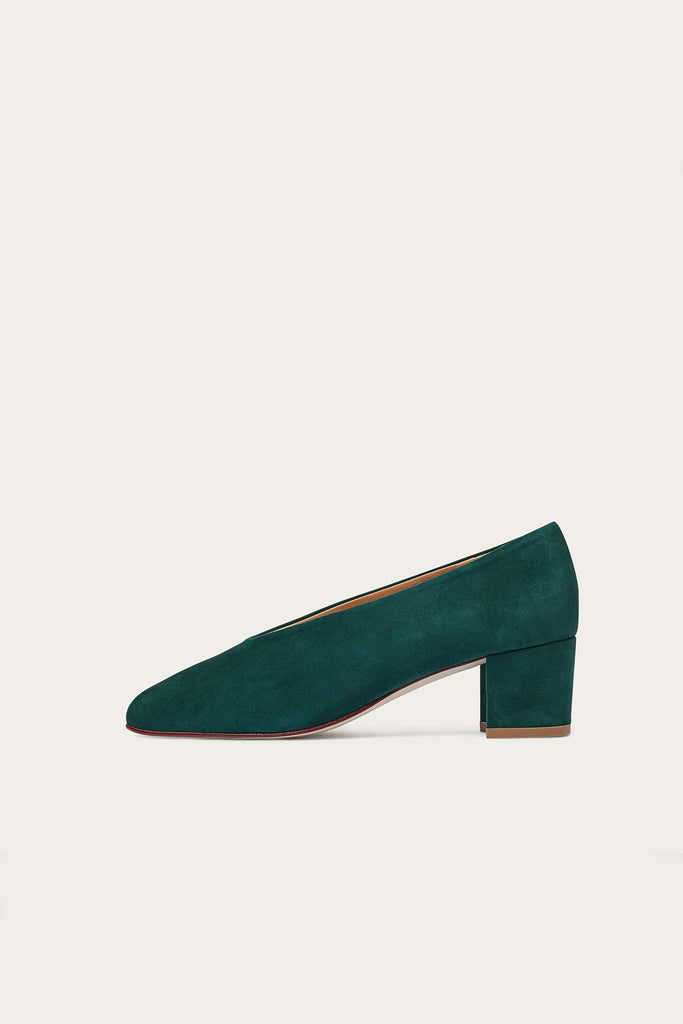 Leilot Natural Cow Leather Suede Heels Shoes in Deep Green
