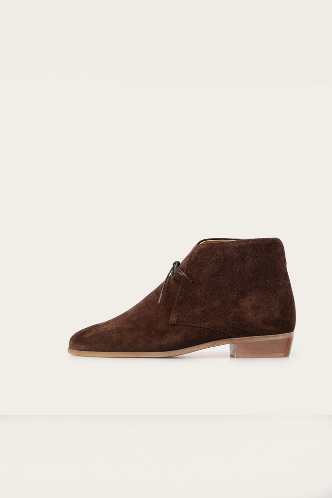 Parizai Natural Cow Leather Suede Booties in Chocolate