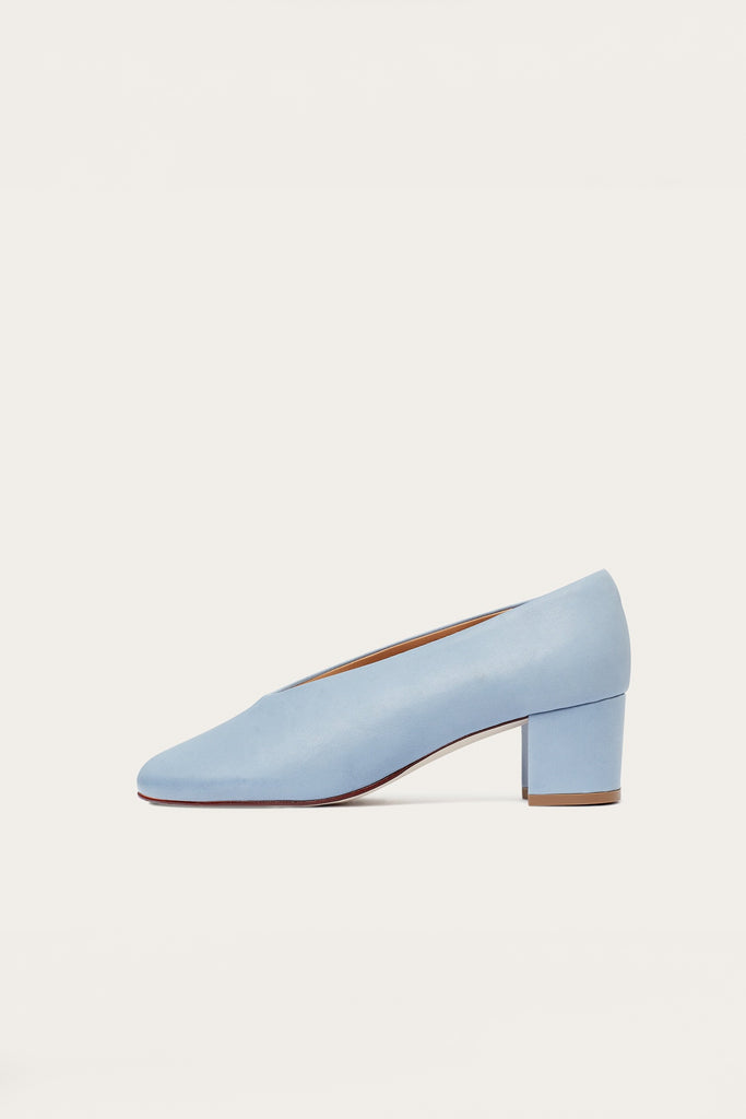 Leilot Natural Cow Leather Heels Shoes in Blue Denim