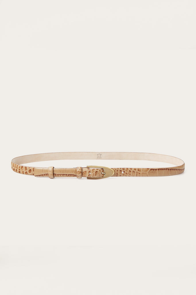 Mat-Gold Buckle Natural Cow Leather Thin Belt in Beige