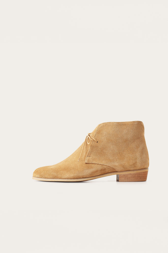 Parizai Natural Cow Leather Suede Booties in Sand