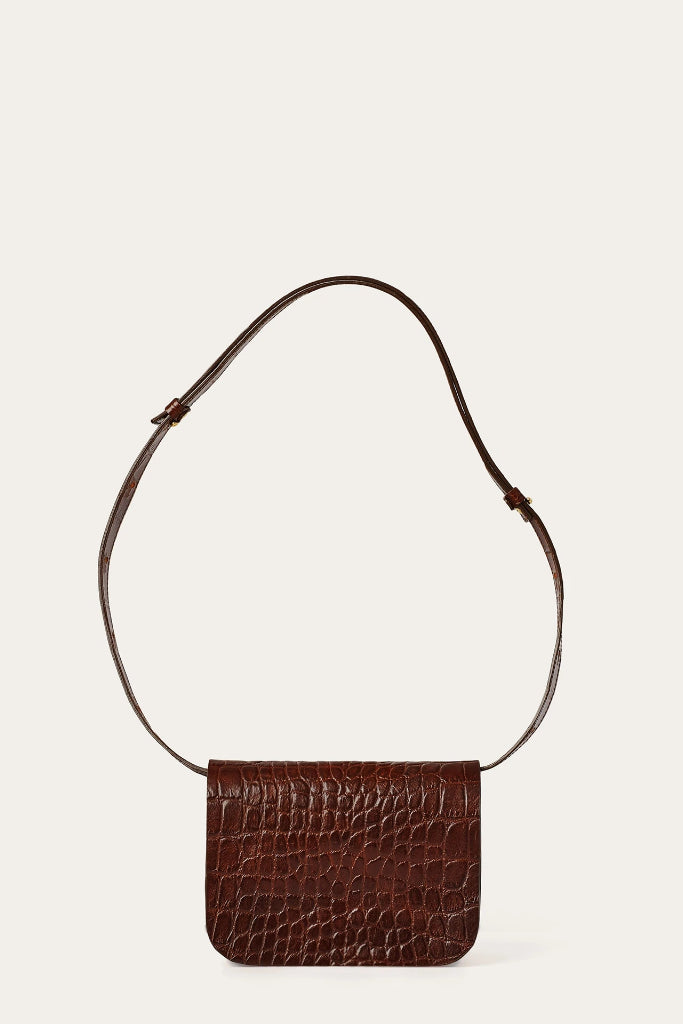 Pitzi Natural Cow Leather Bag in Brown Crocodile Pattern