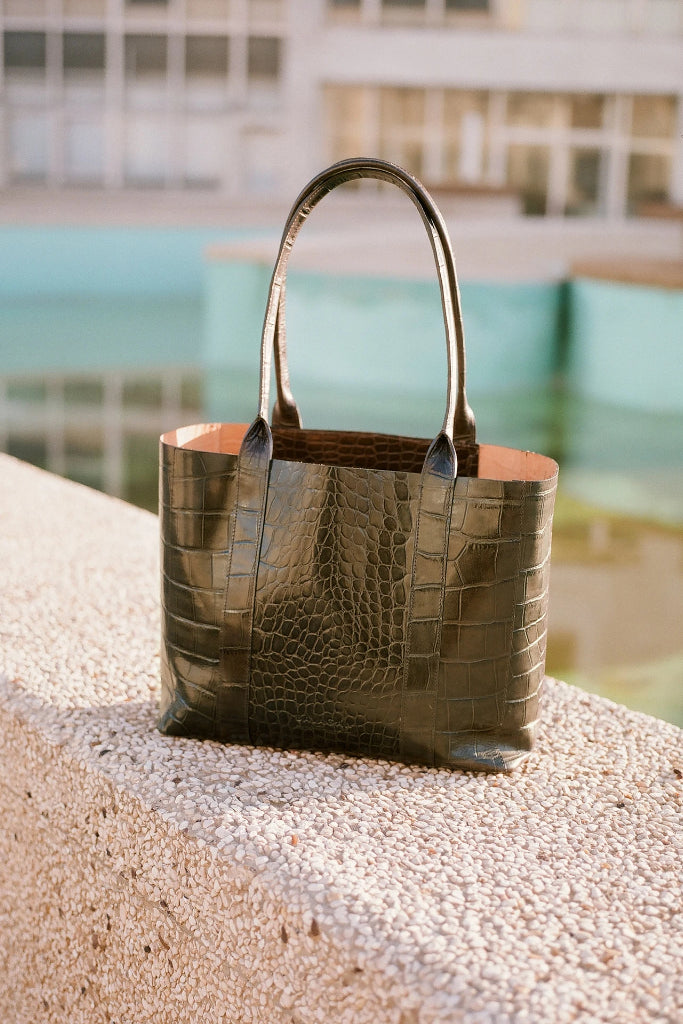 Sal Horizontal Natural Cow Leather Tote Bag in Green Crocodile Pattern