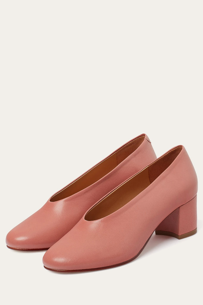 Leilot Natural Cow Leather Heels Shoes in Coral