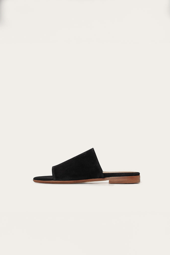 Park Natural Cow Leather Suede Flats in Black