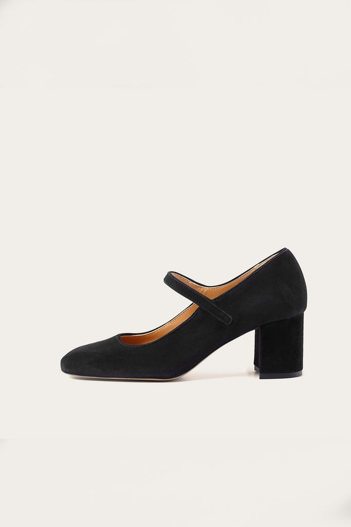 Dora Natural Cow Leather Heels Shoes in Black Suede