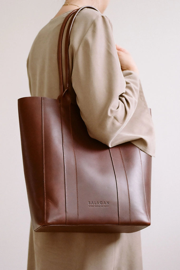Sal Vertical Natural Cow Leather Tote Bag in Brown