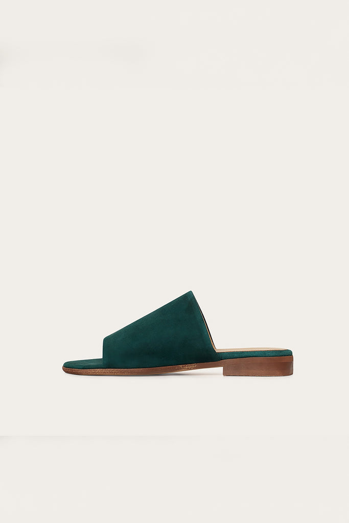 Park Natural Cow Leather Suede Flats in Deep Green