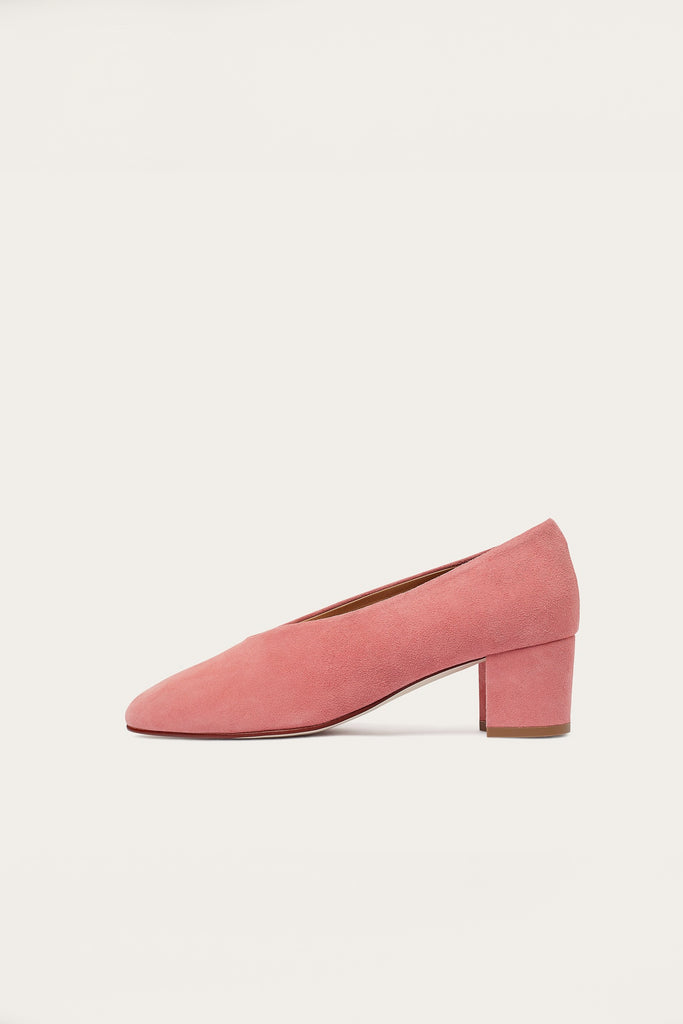 Leilot Natural Cow Leather Suede Heels Shoes in Rouge