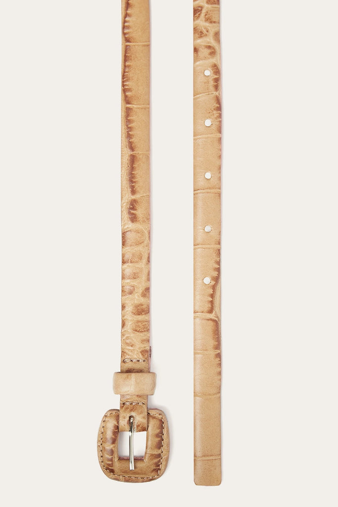 Coated Buckle Natural Cow Leather Thin Belt in Beige
