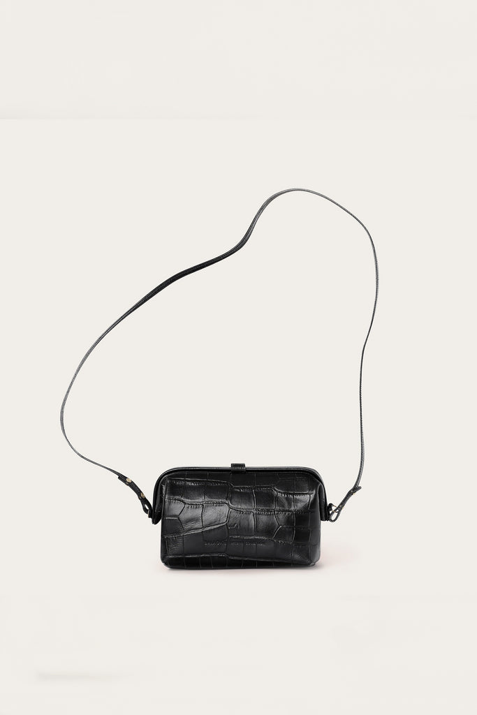 Rofe M Natural Cow Leather Clutch Bag in Black Crocodile Pattern
