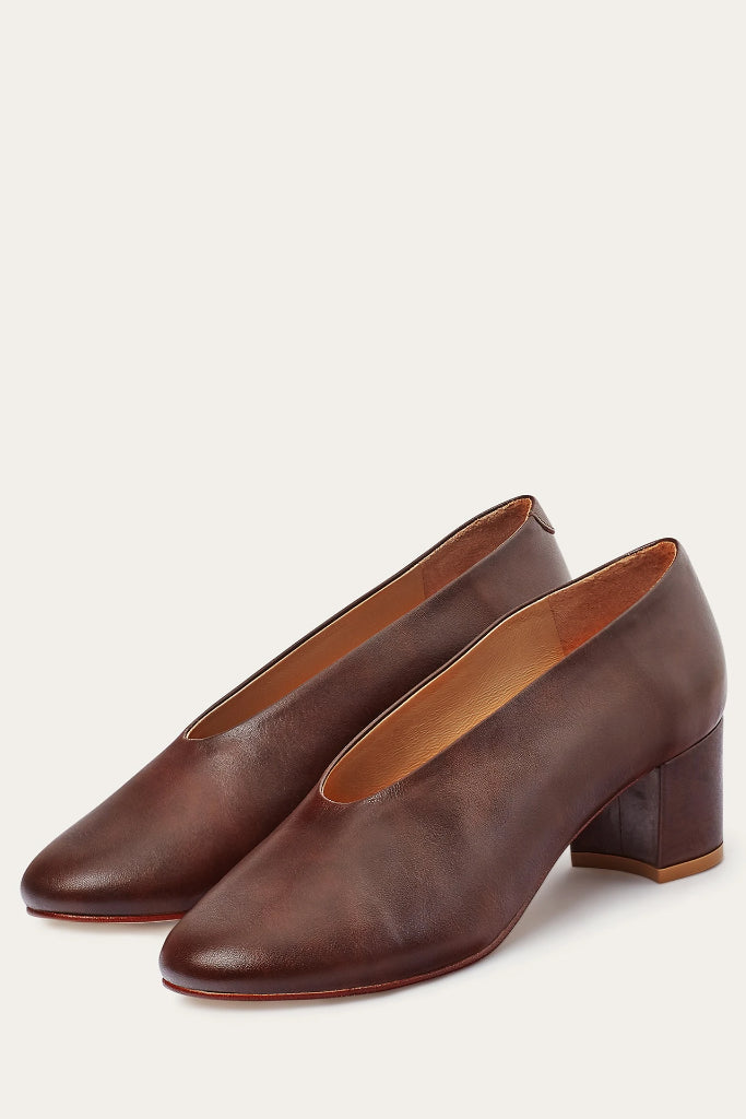 Leilot Natural Cow Leather Heels Shoes in Brown