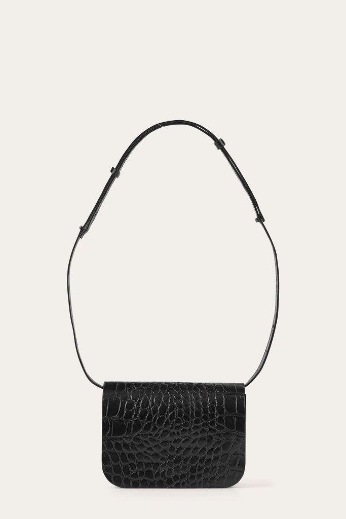 Pitzi Natural Cow Leather Bag in Black Crocodile Pattern