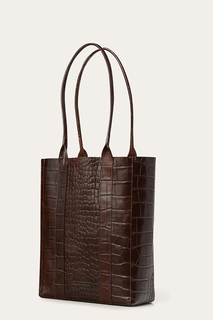 Sal Vertical Natural Cow Leather Tote Bag in Brown Crocodile Pattern