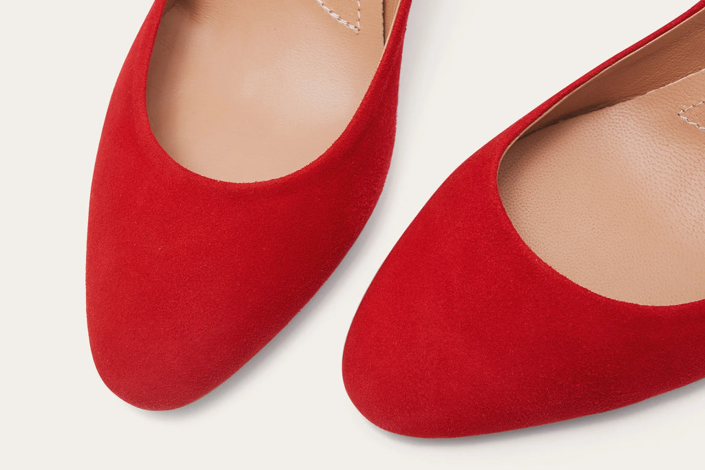 Migdal Natural Leather Heels Shoes in Red Suede