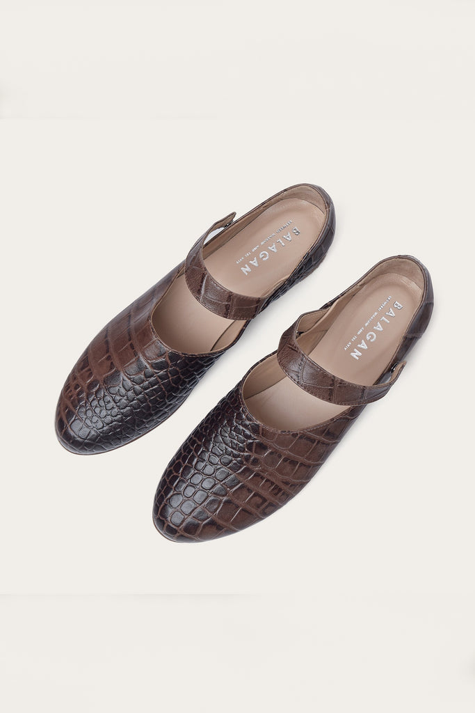 Madeline Natural Cow Leather Shoes in Brown Crocodile Pattern