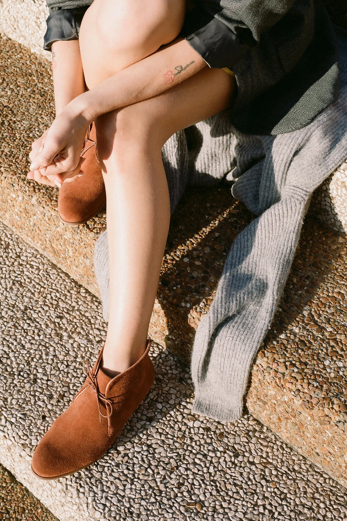 Parizai Natural Cow Leather Suede Booties in Ginger