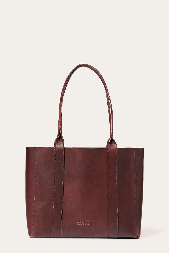 Sal Horizontal Natural Cow Leather Tote Bag in Brown