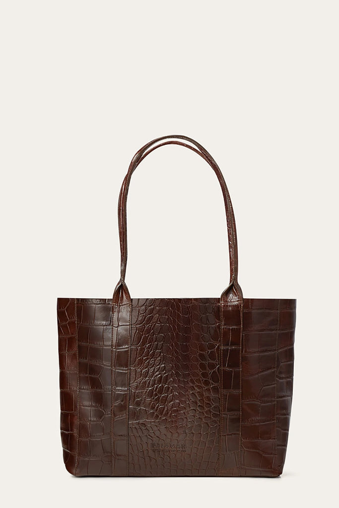 Sal Horizontal Natural Cow Leather Tote Bag in Brown Crocodile Pattern