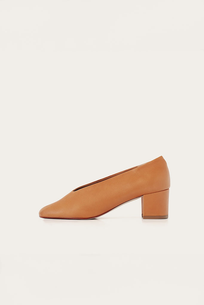 Leilot Natural Cow Leather Heels Shoes in Nude