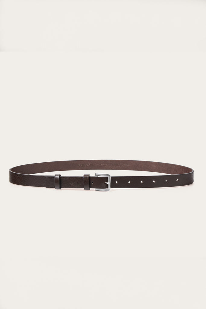 Natural Cow Leather Unisex Belt in Dark Brown