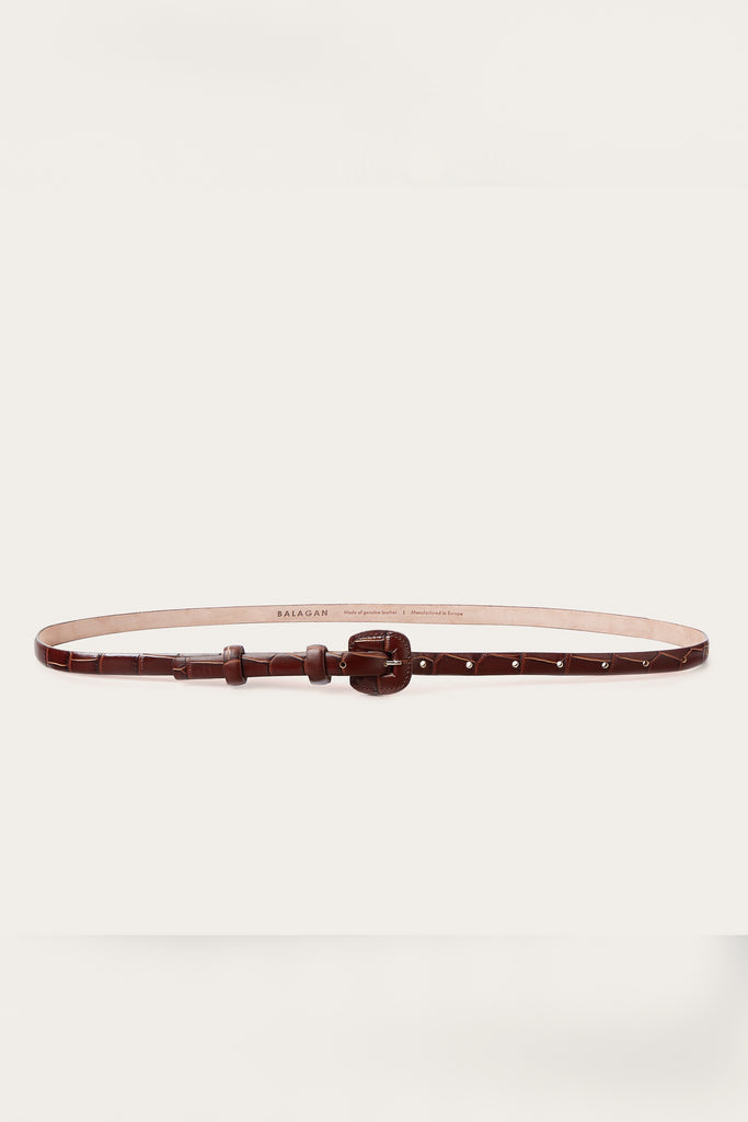 Coated Buckle Natural Cow Leather Thin Belt in Brown